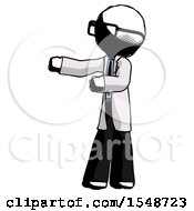 Ink Doctor Scientist Man Presenting Something To His Right
