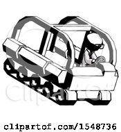 Ink Doctor Scientist Man Driving Amphibious Tracked Vehicle Top Angle View
