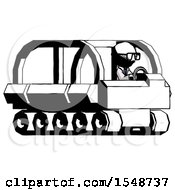 Ink Doctor Scientist Man Driving Amphibious Tracked Vehicle Side Angle View