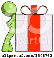 Green Design Mascot Man Gift Concept Leaning Against Large Present