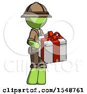 Green Explorer Ranger Man Giving A Present