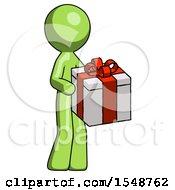 Green Design Mascot Man Giving A Present