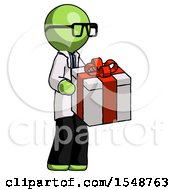 Green Doctor Scientist Man Giving A Present