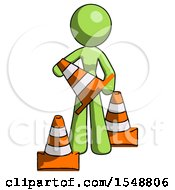 Green Design Mascot Woman Holding A Traffic Cone