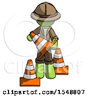 Green Explorer Ranger Man Holding A Traffic Cone