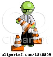 Green Doctor Scientist Man Holding A Traffic Cone