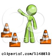 Green Design Mascot Woman Standing By Traffic Cones Waving