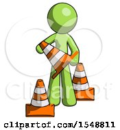 Green Design Mascot Man Holding A Traffic Cone