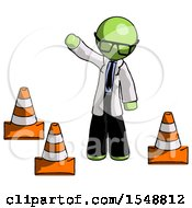 Green Doctor Scientist Man Standing By Traffic Cones Waving