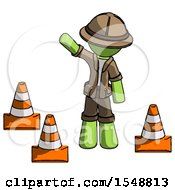 Green Explorer Ranger Man Standing By Traffic Cones Waving