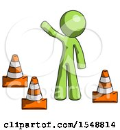 Green Design Mascot Man Standing By Traffic Cones Waving