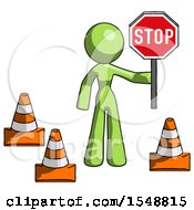 Green Design Mascot Woman Holding Stop Sign By Traffic Cones Under Construction Concept