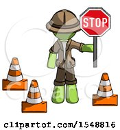 Green Explorer Ranger Man Holding Stop Sign By Traffic Cones Under Construction Concept