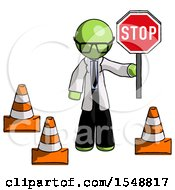 Green Doctor Scientist Man Holding Stop Sign By Traffic Cones Under Construction Concept