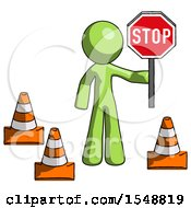 Green Design Mascot Man Holding Stop Sign By Traffic Cones Under Construction Concept