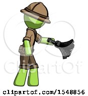 Green Explorer Ranger Man Dusting With Feather Duster Downwards