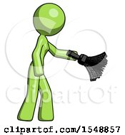 Green Design Mascot Woman Dusting With Feather Duster Downwards
