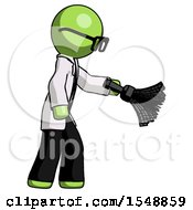 Green Doctor Scientist Man Dusting With Feather Duster Downwards
