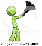 Green Design Mascot Woman Dusting With Feather Duster Upwards