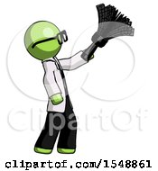 Green Doctor Scientist Man Dusting With Feather Duster Upwards