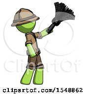 Green Explorer Ranger Man Dusting With Feather Duster Upwards