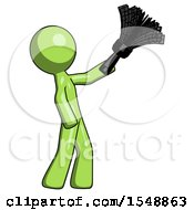 Green Design Mascot Man Dusting With Feather Duster Upwards
