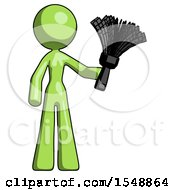Green Design Mascot Woman Holding Feather Duster Facing Forward
