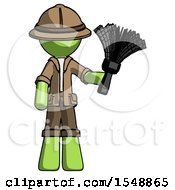 Green Explorer Ranger Man Holding Feather Duster Facing Forward