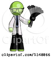 Green Doctor Scientist Man Holding Feather Duster Facing Forward