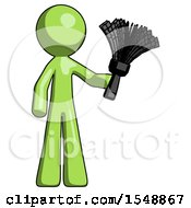 Green Design Mascot Man Holding Feather Duster Facing Forward