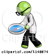 Green Doctor Scientist Man Walking With Large Compass