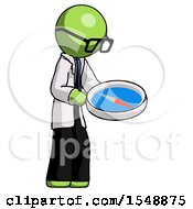 Green Doctor Scientist Man Looking At Large Compass Facing Right