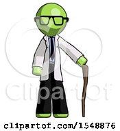 Green Doctor Scientist Man Standing With Hiking Stick