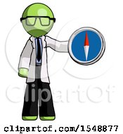 Green Doctor Scientist Man Holding A Large Compass