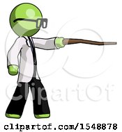 Green Doctor Scientist Man Pointing With Hiking Stick