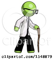Green Doctor Scientist Man Walking With Hiking Stick