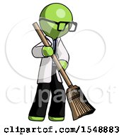 Green Doctor Scientist Man Sweeping Area With Broom