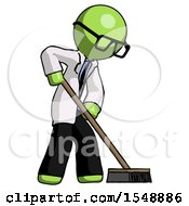 Green Doctor Scientist Man Cleaning Services Janitor Sweeping Side View