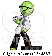 Green Doctor Scientist Man Cleaning Services Janitor Sweeping Floor With Push Broom