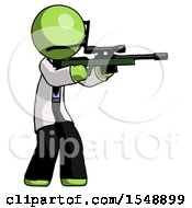 Green Doctor Scientist Man Shooting Sniper Rifle