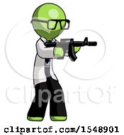 Green Doctor Scientist Man Shooting Automatic Assault Weapon