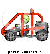 Green Doctor Scientist Man Riding Sports Buggy Side View