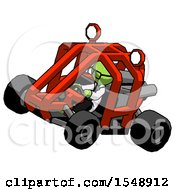 Green Doctor Scientist Man Riding Sports Buggy Side Top Angle View