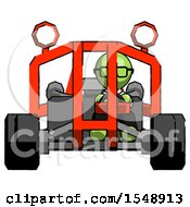 Green Doctor Scientist Man Riding Sports Buggy Front View