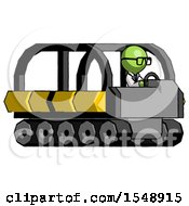 Green Doctor Scientist Man Driving Amphibious Tracked Vehicle Side Angle View