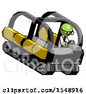 Green Doctor Scientist Man Driving Amphibious Tracked Vehicle Top Angle View