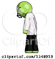 Green Doctor Scientist Man Depressed With Head Down Back To Viewer Left