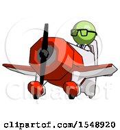 Green Doctor Scientist Man Flying In Geebee Stunt Plane Viewed From Below