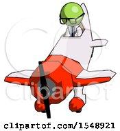 Green Doctor Scientist Man In Geebee Stunt Plane Descending Front Angle View