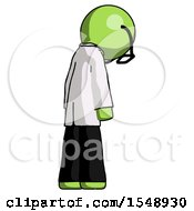Green Doctor Scientist Man Depressed With Head Down Back To Viewer Right